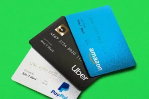 This is the main photograph for the Card payments category page. It shows three credit cards on a green background.