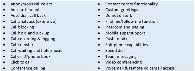This table shows the features of hosted VoIP phone systems.