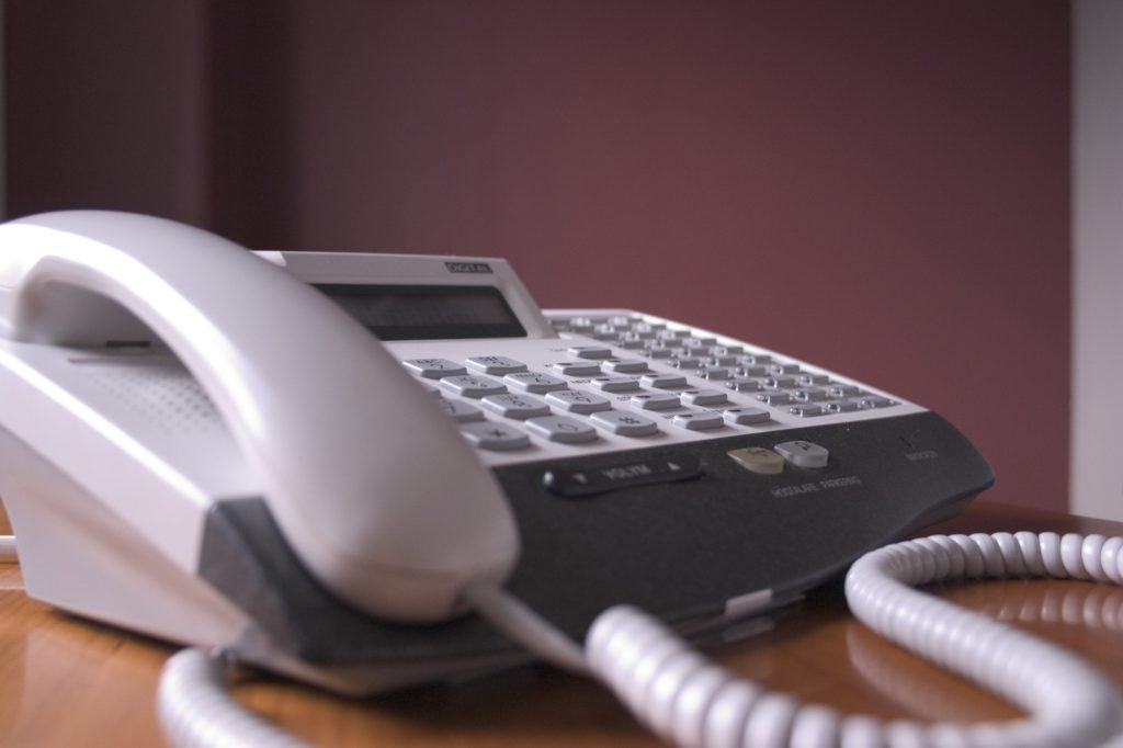 This is the main photograph for the article Guide to Multi-line business telephone systems. It shows a close up of a key system unit telephone. handset