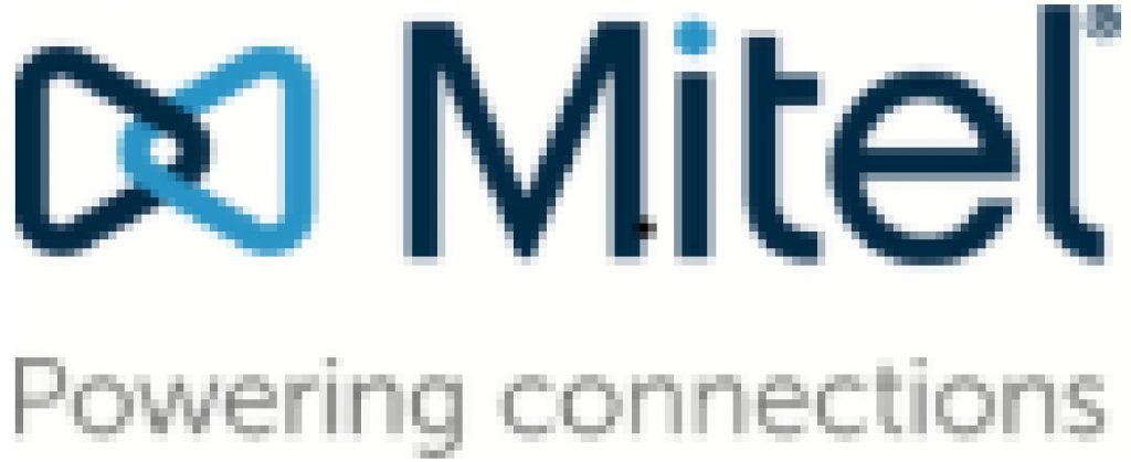 This infographic shows the logo for the Mitel business phone systems company.