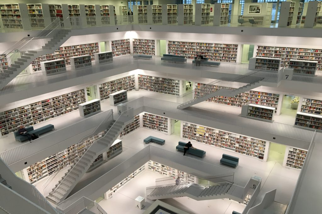 This is the main photograph for the What is a CRM system article. It shows the interior of an ultra modern, large library.